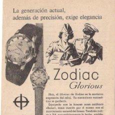 Catálogos publicitarios: ANUNCIO PUBLICITARIO DE RELOJ ZODIAC GLORIUS, DICIEMBRE DE 1958. Lote 39111010