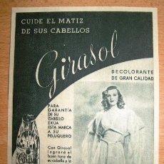 Catalogues publicitaires: DECOLORANTE * GIRASOL * - CUIDE EL MATIZ DE SUS CABELLOS - FABRICADO POR FORET S.A. - BARCELONA. Lote 39330248