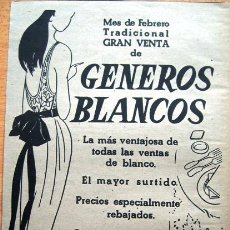 Catalogues publicitaires: PUBLICIDAD: ALMACENES JORBA, MES DE FEBRERO TRADICIONAL GRAN VENTA GENEROS BLANCOS. Lote 39331116