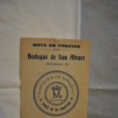 Catálogos publicitarios: LISTA DE PRECIOS. Lote 39654014