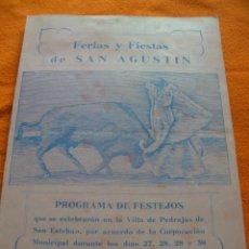 Catálogos publicitarios: PROGRAMA DE FERIAS Y FIESTAS DE SAN AGUSTIN, PEDRAJAS DE SAN ESTEBAN. VALLADOLIDAÑO 1953.. Lote 40030819