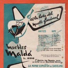 Catálogos publicitarios - anuncio publicitario - muebles malda - diseño roman - barcelona - años 40 / 50 - rd3 - 40079057