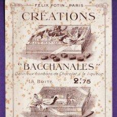 Catálogos publicitarios: HOJA PUBLICITARIA - BOMBONES Y CHOCOLATE - BACCHANALES / FELIX POTIN - PARIS - AÑO 1909 - RD3. Lote 40168055