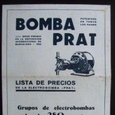 Catálogos publicitarios: CATALOGO PUBLICITARIO BOMBAS CENTRIFUGAS PRAT CATALOGO PRECIOS. Lote 30934174