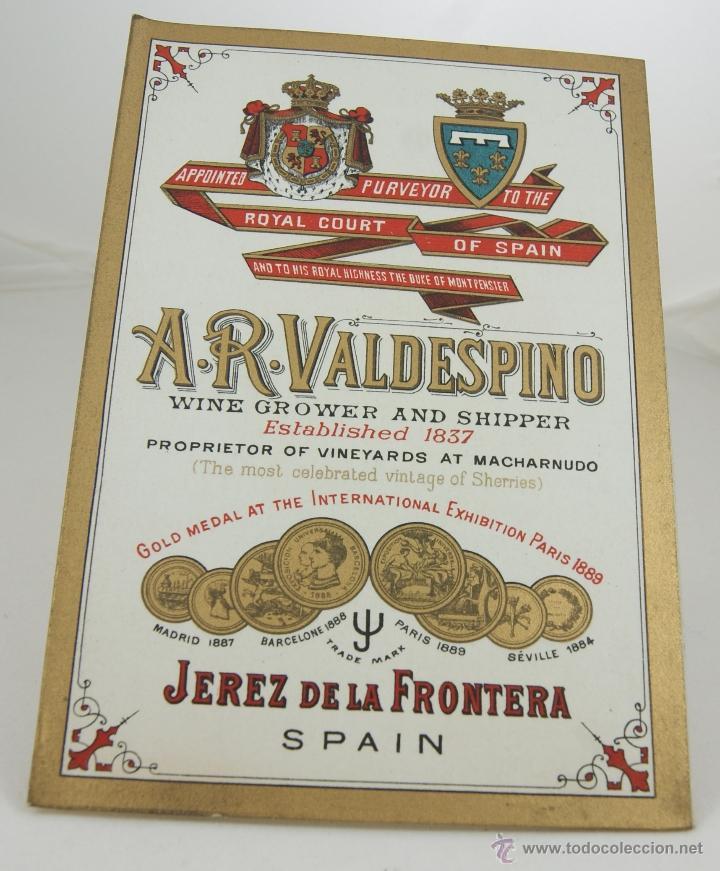 A R VALDESPINO PRECIOSOORIGINAL DE EPOCA (Coleccionismo - Catálogos Publicitarios)