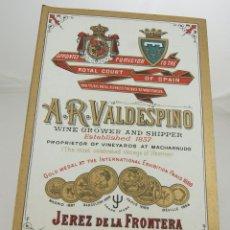 Catálogos publicitarios: A R VALDESPINO PRECIOSOORIGINAL DE EPOCA. Lote 40278935