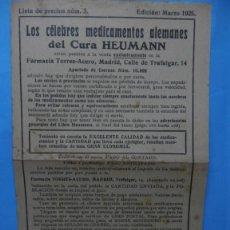 Catálogos publicitarios: DIPTICO - FOLLETO PUBLICITARIO - MEDICAMENTOS ALEMANES DEL CURA HEUMANN. Lote 40308322