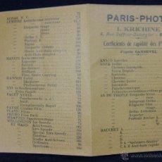 Catálogos publicitarios: PUBLICIDAD PARÍS PHOTO KRICHINE RUE DUFFOUR DUBERGIER BORDEAUX LARGO 13, 5 CM ANCHO 9, 5 CM. Lote 40321323