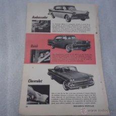 Catálogos publicitarios: HOJA PUBLICIDAD ANTIGUA - 23 X 16 CM - COCHE - AMBASSADOR - BUICK - CHEVROLET . Lote 40324301