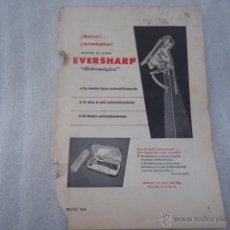 Catálogos publicitarios: HOJA PUBLICIDAD ANTIGUA - 23 X 16 CM - CUCHILLA AFEITAR EVERSHARP . Lote 40324592