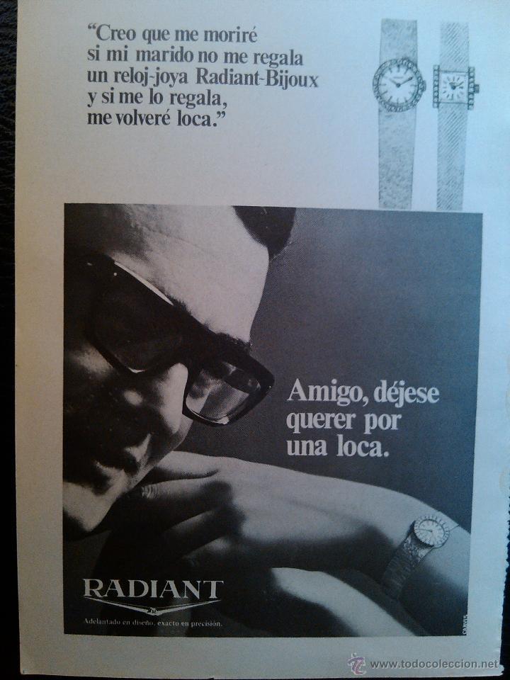 PUBLICIDAD RELOJ RADIANT (Coleccionismo - Catálogos Publicitarios)