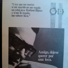 Catálogos publicitarios: PUBLICIDAD RELOJ RADIANT. Lote 40680482