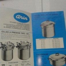 Catálogos publicitarios: ANTIGUA PUBLICIDAD ORIGINAL INDUSTRIA HOTELERA ARIN AÑO 1975. Lote 41061334