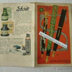 Catálogos publicitarios: PLUMA SHEAFFERS.DIPTICO. Lote 41217527