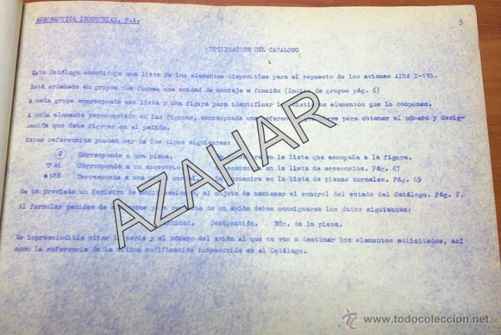 Catálogos publicitarios: MADRID,1955, CATALOGO DE PIEZAS DEL AVION AISA I-11B,RARISIMO,73 PAGS. - Foto 12 - 41270522
