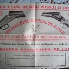 Catálogos publicitarios: PUBLICIDAD Y CATALOGO DE ARMAS DE FUEGO DE HIJOS DE JUAN BAUTISTA ARRIZABALAGA- EIBAR. Lote 41303367