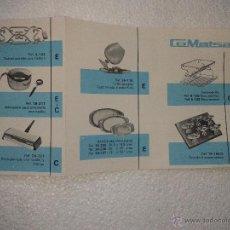Catálogos publicitarios: ANTIGUA PUBLICIDAD ORIGINAL DISEÑOS MODELOS ACERO INOX COMATSA AÑOS 70. Lote 41305675