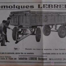 Catálogos publicitarios: REMOLQUES LEBRERO DE INDUSTRIAS LEBRERO HERMANOS MILAGRO (NAVARRA). Lote 41321791