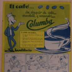 Catálogos publicitarios: EL CAFÉ COLUMBA AÑO 1953 - MARASES. MADRID, VIÑETAS Y DATOS INFORMATIVOS DEL CAFÉ, CHOCOLATE, ETC.. Lote 41322982