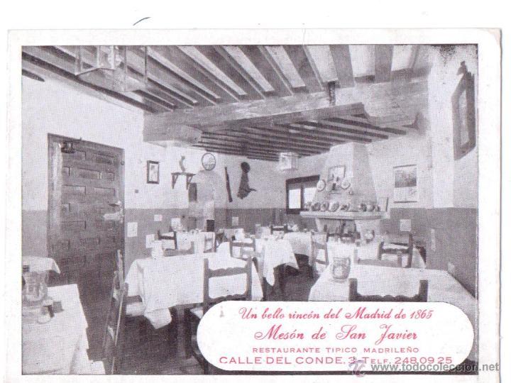 MESON DE SAN JAVIER RESTAURANTE TIPICO MADRILEÑO PLANO AL DORSO MADRID (Coleccionismo - Catálogos Publicitarios)