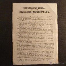Catálogos publicitarios: PUBLICIDAD DE IMPRESOS DE VENTA PARA LOS JUZGADOS MUNICIPALES.PEÑARANDA DE BRACAMONTE.SALAMANCA.1881. Lote 41773685