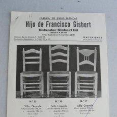 Catálogos publicitarios: CATALOGO SILLAS ANTIGUAS MADERA SILLA ANTIGUA S GISBERT ONTENIENT VALENCIA. Lote 42451251