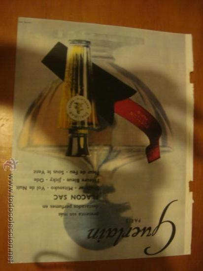 MUY ANTIGUA HOJA PUBLICIDAD, PUBLICITARIA, PERFUMES FLACON SAC, GUERLAIN PARIS (Coleccionismo - Catálogos Publicitarios)