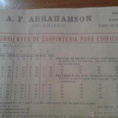 Catálogos publicitarios: PUBLICIDAD TARIFA DE PRECIOS CARPINTERIA PARA EDIFICIOS A.F. ABRAHAMSON INGENIERO MADRID S. XIX. Lote 42719265