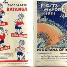 Catálogos publicitarios: PROGRAMA FIESTA MAYOR SARRIÁ (BARCELONA), 1955 - CON PUBLICIDAD DE BISCUTER. Lote 32573571