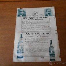 Catálogos publicitarios - RECORTE DE PRENSA ORIGINAL 1933: PUBLICIDAD CAFÉ PEÑARROYA Y ANIS MOLERO RUTE - 42999247