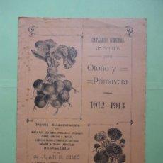 Catálogos publicitarios: CATÁLOGO GENERAL DE SEMILLAS PARA OTOÑO Y PRIMAVERA 1912.1913. Lote 43308054