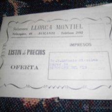 Catálogos publicitarios: CATALOGO PRECIOS ALICANTE 1949 LLORCA MONTIEL PESCADO TURRONES JIJONA SALAZONES 16 PAGS. Lote 43388069