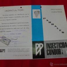 Catálogos publicitarios: INSECTICIDAS CONDOR ALMERIA AÑO 1970. Lote 43605905