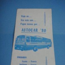 Catálogos publicitarios: ANTIGUO FOLLETO AUTOCAR 80. VIAJES PERSIVAL. ATENAS 24000PTAS. IMPRESIONES MINERVA VILLAHERMOSA.. Lote 43819370