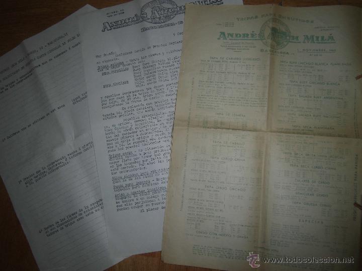 ANDRE ARCH MILA CARNE TRIPAS EMBUTIDOS BARCELONA CATALOGO PRECIOS 1963 Y SOBRES CON SELLOS (Coleccionismo - Catálogos Publicitarios)