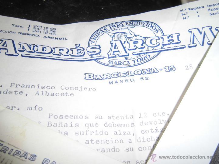 Catálogos publicitarios: arch mila CATALOGO SURTIDO Y PRECIOS 1957 MARCA TORO BARCELONA CARNES embutidos carta Y SELLO - Foto 2 - 43966793