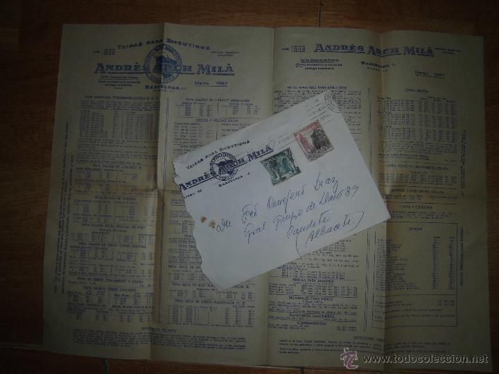 ARCH MILA CATALOGO SURTIDO Y PRECIOS 1957 MARCA TORO BARCELONA CARNES EMBUTIDOS CARTA Y SELLO (Coleccionismo - Catálogos Publicitarios)