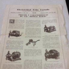 Catálogos publicitarios: ANTIGUO CATALOGO BOMBAS BLOCH, ELECTRICIDAD FELÍO CORTADA, VICH. VIC. DÍPTICO. MUY CURIOSO. Lote 44066280