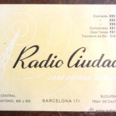 Catálogos publicitarios: RADIO CIUDAD. JOSE ROTGER SAMSOT. TARJETA DE VISITA. 8 X 12 CM. PUBLICIDAD.. Lote 44250902