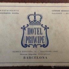 Catálogos publicitarios: HOTEL PRINCIPE. RAMBLA ESTIDIOS, 10. BARCELONA. TARJETA DE VISITA. 9 X 12 CM. PUBLICIDAD.. Lote 44250939