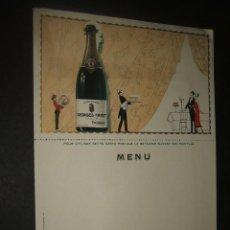 Catálogos publicitarios: MENU ART DECO AÑOS 20 PUBLICIDAD CHAMPAGNE. Lote 44339489