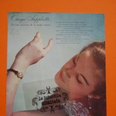 Catálogos publicitarios: PUBLICIDAD ORIGINAL - RELOJ OMEGA SAPPHETTE - 1957 - TRASERA ILUSTRACION . Lote 44377476