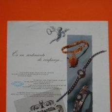 Catálogos publicitarios: PUBLICIDAD ORIGINAL - RELOJ OMEGA - 1959 - JOYERIA ALDAO MADRID . Lote 44377889