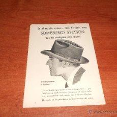 Catálogos publicitarios: PUBLICIDAD ORIGINAL EN PRENSA AÑO 1951: SOMBREROS STETSON. Lote 44642357