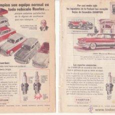 Catálogos publicitarios: PUBLICIDAD ORIGINAL DE PRENSA AÑOS 50 BUJIAS ENCENDIDO CHAMPION VEHICULO ROOTES 18 X 13 CM. Lote 44766420