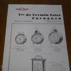 Catálogos publicitarios: HOJA PUBLICITARIA CATALOGO DE PRECIOS ALMACEN DE RELOJES ZARAGOZA. Lote 45024522