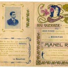 Catálogos publicitarios: NIU GUERRER. PROGRAMA DÍPTIC ORIGINAL. DESEMBRE 1904.FUNCIÓ A BENEFICI DE MANEL ROS. IMPECABLE ESTAT. Lote 45174429