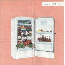 Catálogos publicitarios: HOJA REFRIGERADOR FRISAN MODELO 752-B. AÑOS 60. Lote 45450123