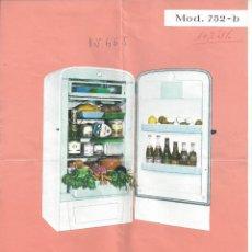 Catálogos publicitarios: HOJA REFRIGERADOR FRISAN MODELO 752-B. AÑOS 60. Lote 45450156