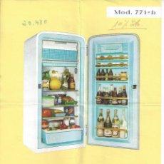 Catálogos publicitarios: HOJA REFRIGERADOR FRISAN MODELO 771-B. AÑOS 60. Lote 45450237